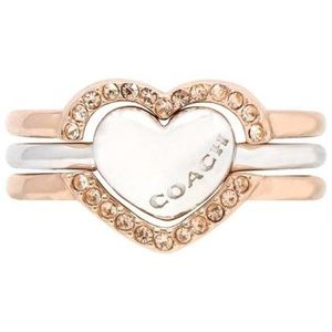COACH DOUBLE HEART  Three Ring Set Silver & Rose